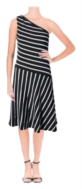 Ralph Lauren Black White Nwot Striped One Shoulder Mid-length Cocktail Dress Size 8 (M) Ralph Lauren Black White Nwot Striped One Shoulder Mid-length Cocktail Dress Size 8 (M) Image 1