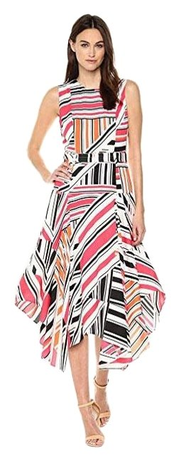 Item - Black White Orange Pink Fun Belted Handkerchief Mid-length Night Out Dress Size 10 (M)