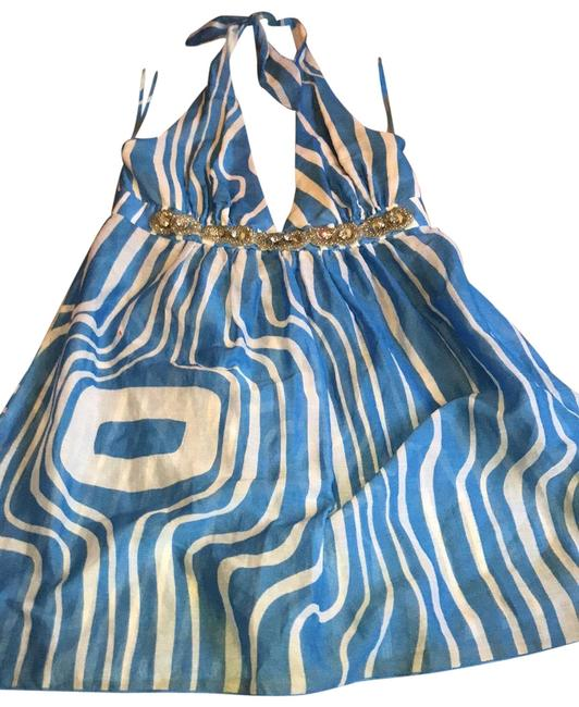 Item - Blue and White 254106 Halter Top Size 6 (S)