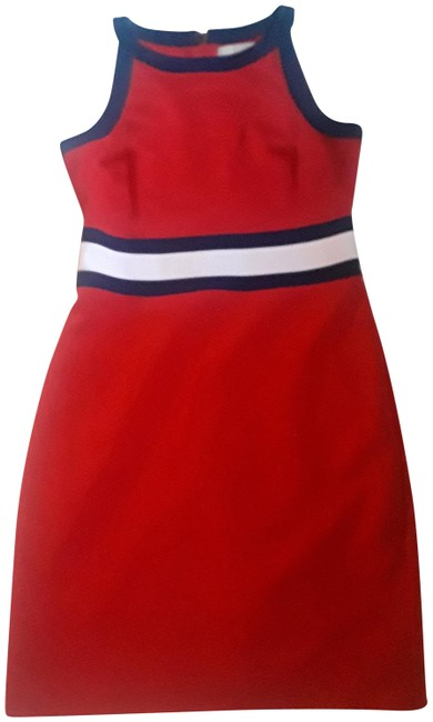 Item - Red with Navy and White Accent Mid-length Work/Office Dress Size 2 (XS)