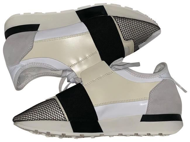 Item - Black White Cremé and Grey Race Runner Sneakers Size US 7 Narrow (Aa, N)