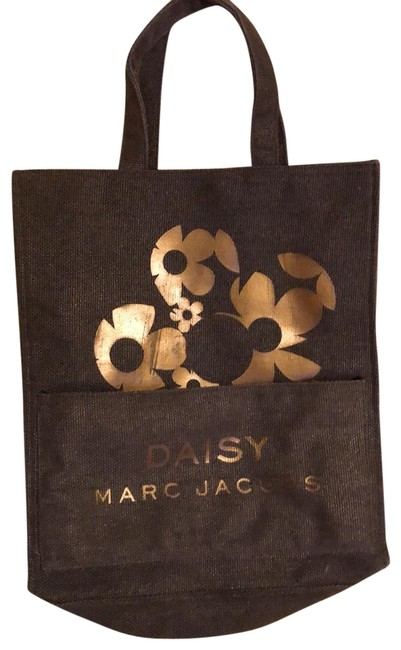 Marc Jacobs Daisy Burlap with Gold Shimmer Green Canvas Tote Marc Jacobs Daisy Burlap with Gold Shimmer Green Canvas Tote Image 1