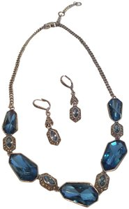 Givenchy Givenchy Silvertone Set of 2 Blue Crystal Modern Earrings/Necklace