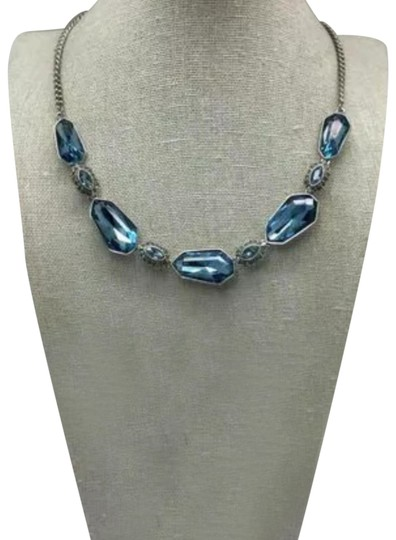 Givenchy Givenchy Silvertone Set of 2 Blue Crystal Modern Earrings/Necklace Image 1