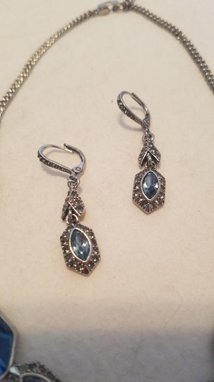 Givenchy Givenchy Silvertone Set of 2 Blue Crystal Modern Earrings/Necklace Image 4