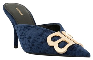 Balenciaga Logo Plaque Pointed Toe Made In Italy Branded Insole Leather Sole Midnight Blue Mules