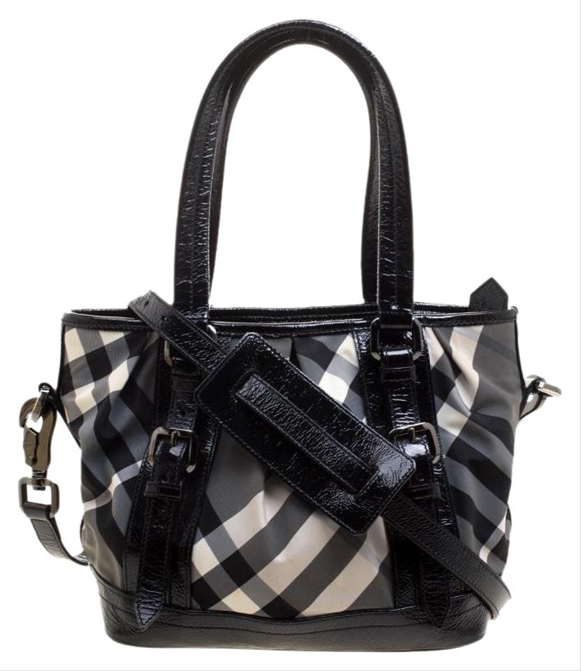 049f17f1ed Burberry And Patent Leather Small Lowry Tote Black Nylon Shoulder Bag