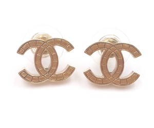 Chanel Chanel Gold CC Plaid Piercing Earrings