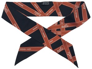 Hermès HERMES Twilly Au Carre Bolduc Black and Orange Logo Ribbon Scarf