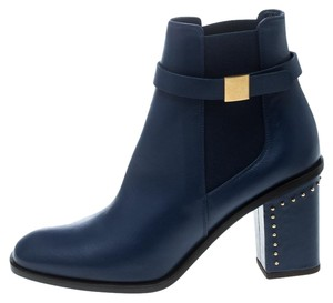 Alexander McQueen Leather Studded Ankle Blue Boots