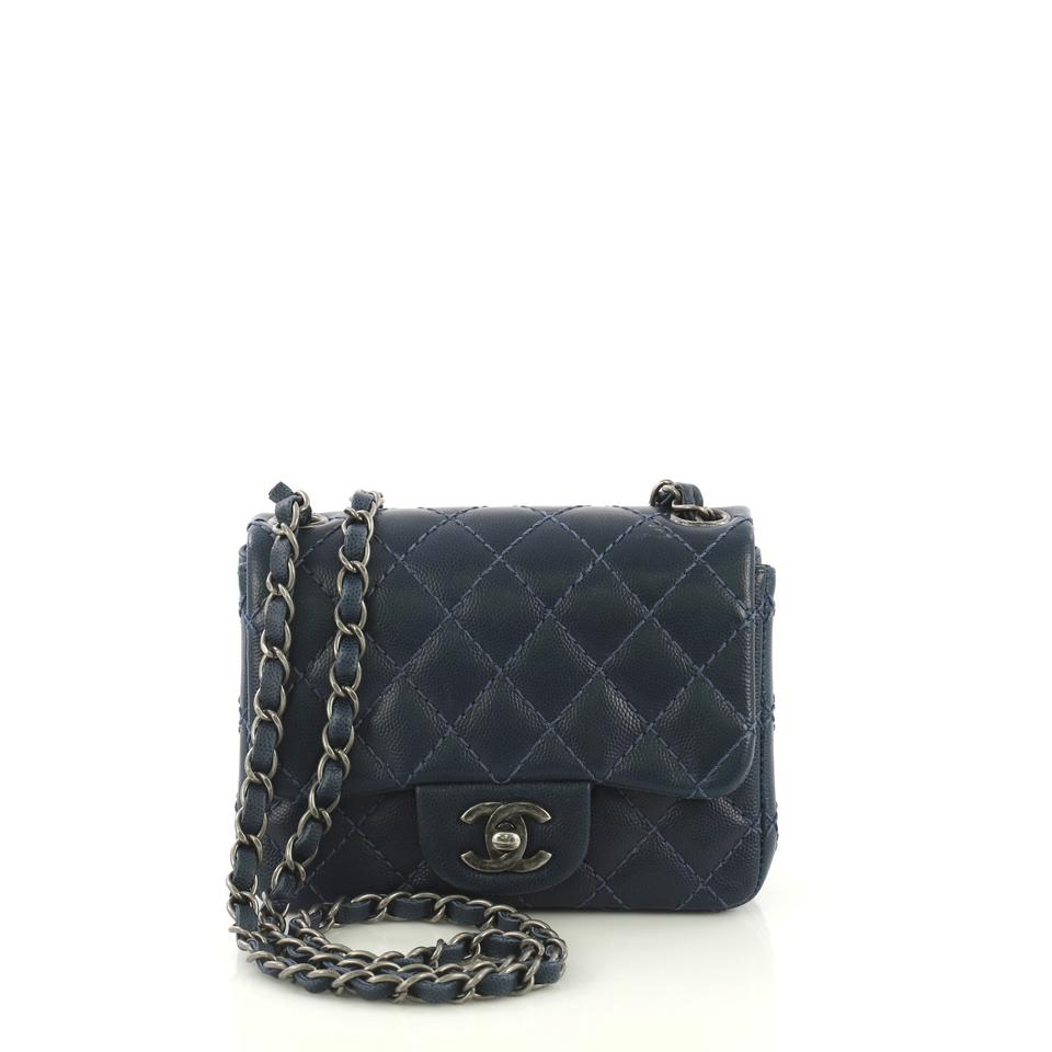 dfb96fa2d232 Chanel Classic Flap Square Classic Single Quilted Caviar Mini Navy Leather Cross  Body Bag