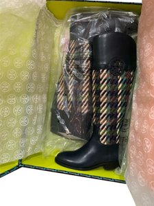 Tory Burch Bright Navy / Green dogstooth Boots