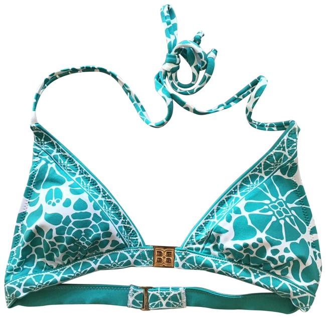 Item - Turquoise Blue and White Alk1b437-4y9 Bikini Top Size 4 (S)