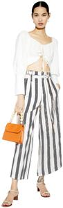 Christian Siriano Striped Print Front Waistband Elastic Back Waist Hip Pockets Cropped Wide Leg Pants Multi-Color