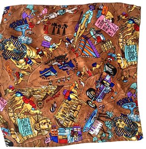 "Nicole Miller Egyptian motif detailed 13"" square scarf"