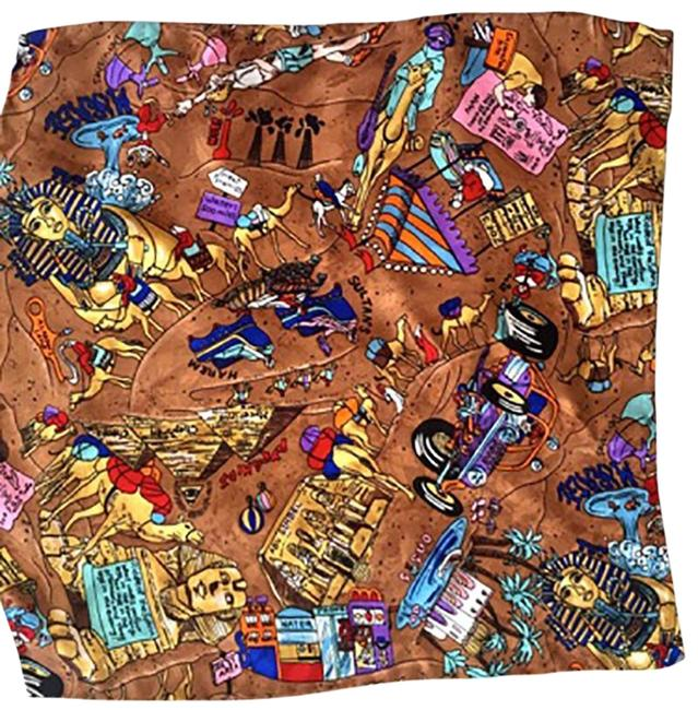 "Item - Multi Color Egyptian Motif Detailed 13"" Square Scarf/Wrap"
