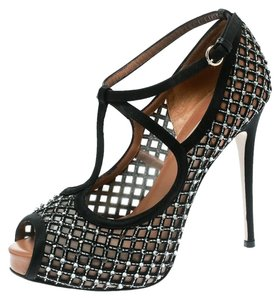 Valentino Embellished Mesh Peep Toe Leather Suede Black Pumps