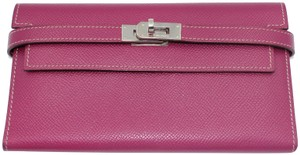 Hermès Epsom Kelly Longue Wallet Tosca with interior in Rose Tyrien
