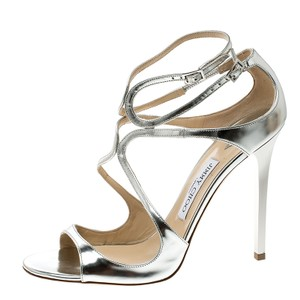 Jimmy Choo Metallic Leather Strappy Silver Sandals