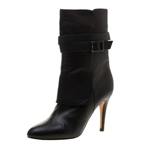 Jimmy Choo Leather Detail Midcalf Rubber Black Boots
