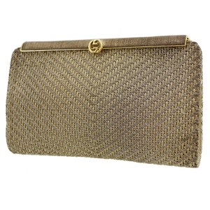 Gucci True 1960's Mod Hard & Boxy Shape Mint Vintage Early metallic gold and silver woven silk over leather Clutch