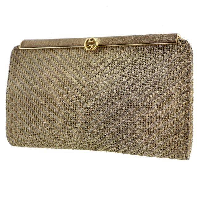 Item - 1973 Metallic Gold/Silver Over Round Gg Accent Gold/Silver Woven Silk/Leather and Clutch