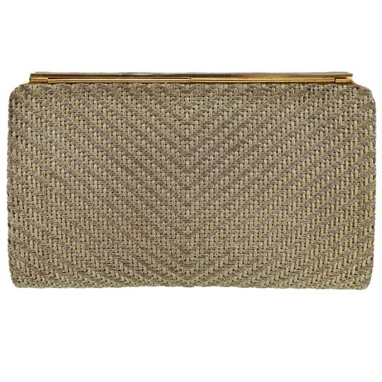 Gucci True 1960's Mod Hard & Boxy Shape Mint Vintage Early metallic gold and silver woven silk over leather Clutch Image 1