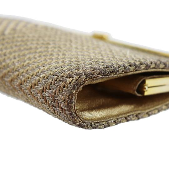 Gucci True 1960's Mod Hard & Boxy Shape Mint Vintage Early metallic gold and silver woven silk over leather Clutch Image 11