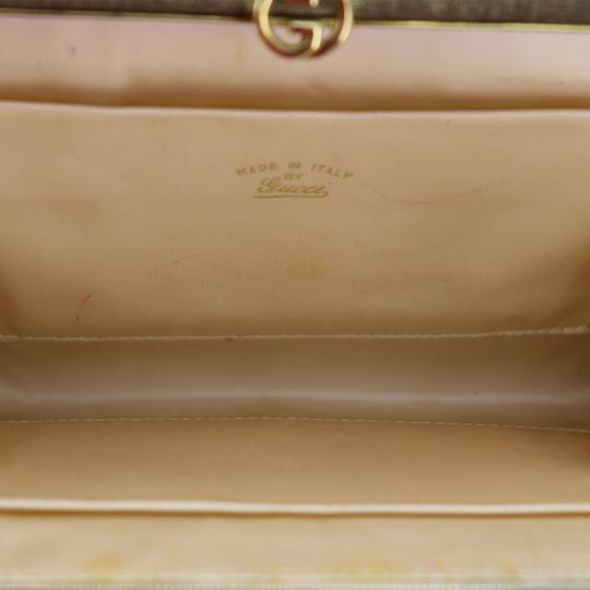 Gucci True 1960's Mod Hard & Boxy Shape Mint Vintage Early metallic gold and silver woven silk over leather Clutch Image 3