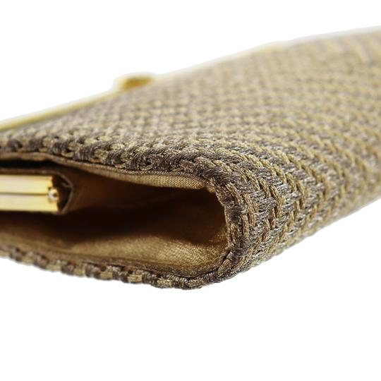 Gucci True 1960's Mod Hard & Boxy Shape Mint Vintage Early metallic gold and silver woven silk over leather Clutch Image 4