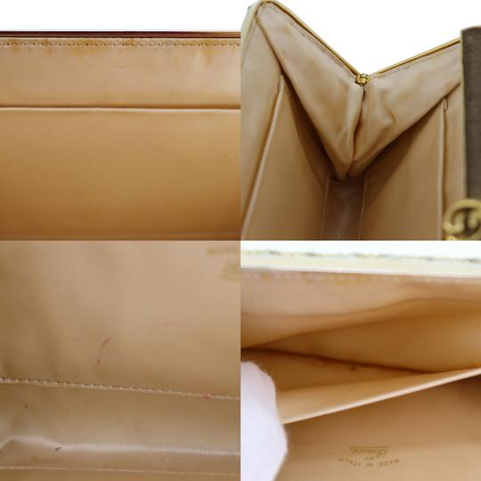 Gucci True 1960's Mod Hard & Boxy Shape Mint Vintage Early metallic gold and silver woven silk over leather Clutch Image 5