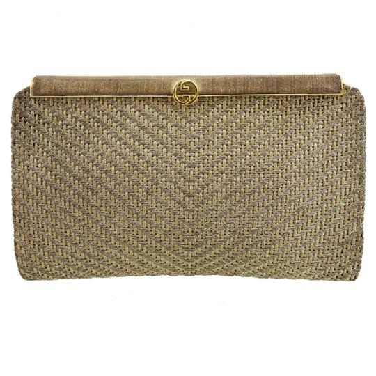 Gucci True 1960's Mod Hard & Boxy Shape Mint Vintage Early metallic gold and silver woven silk over leather Clutch Image 6
