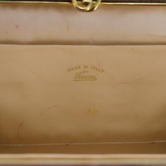 Gucci True 1960's Mod Hard & Boxy Shape Mint Vintage Early metallic gold and silver woven silk over leather Clutch Image 7