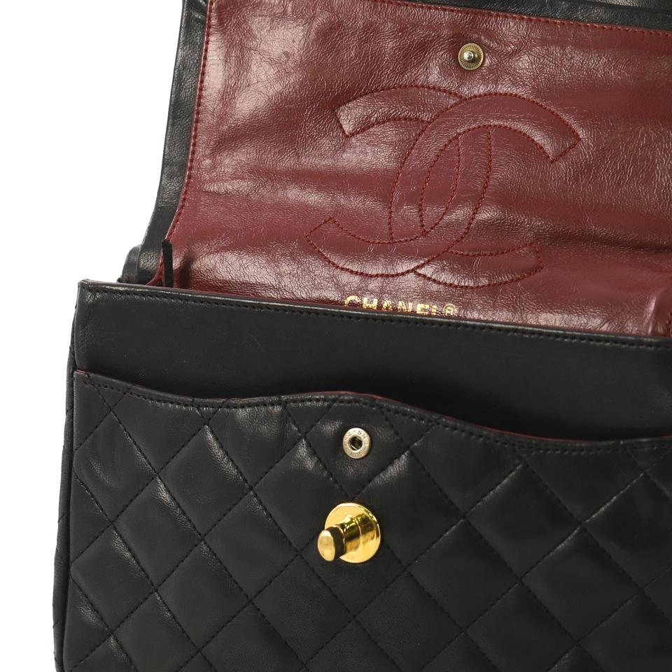 a1eb47338dfa53 Chanel Classic Flap Vintage Two-tone Cc Quilted Lambskin Small Black  Leather Shoulder Bag - Tradesy