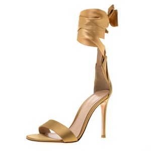 Gianvito Rossi Satin Leather Gold Sandals