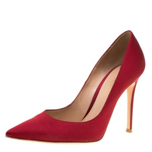 Gianvito Rossi Satin Pointed Toe Leather Red Pumps