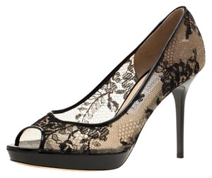 Jimmy Choo Lace Mesh Patent Leather Leather Black Pumps