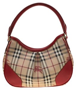 f606e85be51d Added to Shopping Bag. Burberry Leather Canvas Hobo Bag. Burberry Red Beige  Haymarket Check Pvc ...
