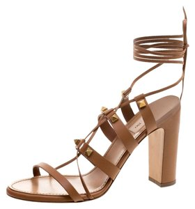 Valentino Leather Lace Brown Sandals