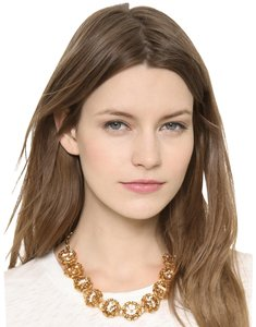Tory Burch NEW 16K Gold Plated Leah Jeweled Short Necklace