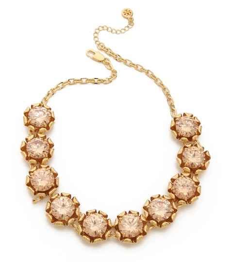 Tory Burch NEW 16K Gold Plated Leah Jeweled Short Necklace Image 1