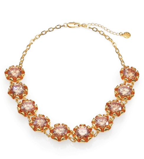 Tory Burch NEW 16K Gold Plated Leah Jeweled Short Necklace Image 6