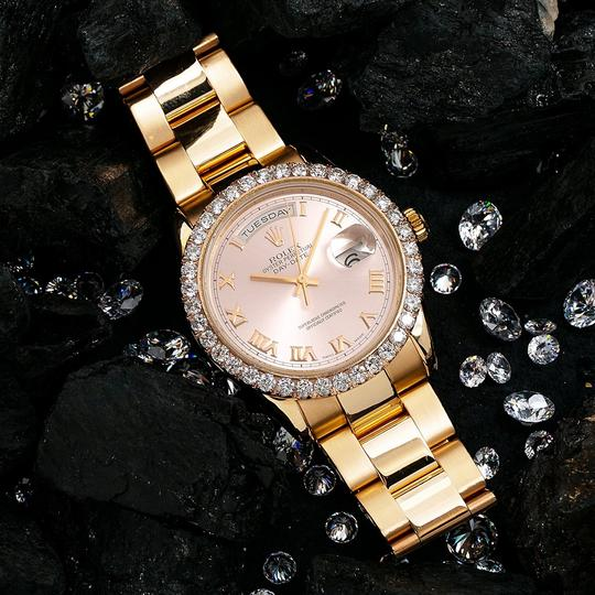 Rolex Rolex Day-Date 118205 36MM Pink Dial With 3.50 CT Diamonds Image 1