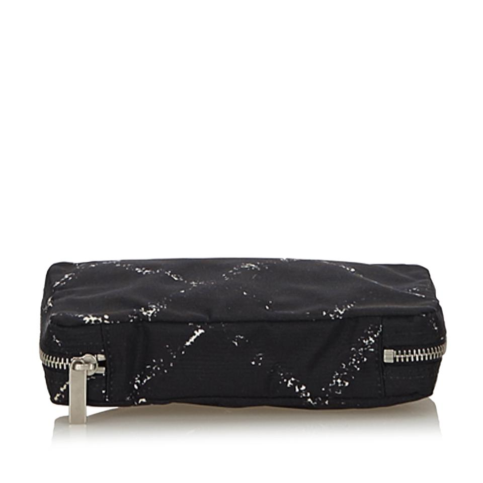 ffa642711b99 Chanel Fabric Old Travel Line Pouch France Black Nylon Wristlet ...