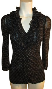 INC International Concepts Ruffled Polka Dot Button Down Onm 001 Top black & white
