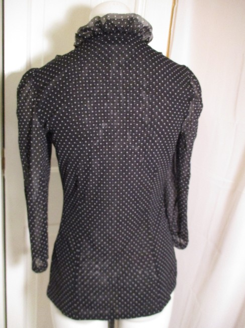 INC International Concepts Ruffled Polka Dot Button Down Onm 001 Top black & white Image 11