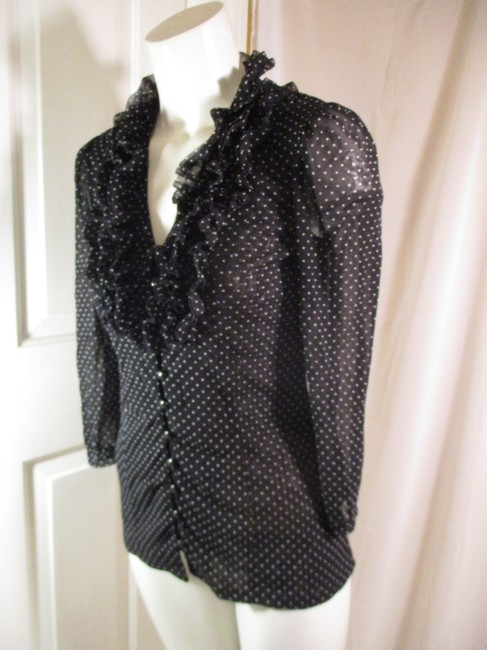 INC International Concepts Ruffled Polka Dot Button Down Onm 001 Top black & white Image 2