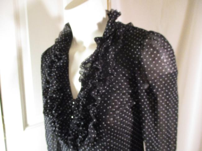 INC International Concepts Ruffled Polka Dot Button Down Onm 001 Top black & white Image 3