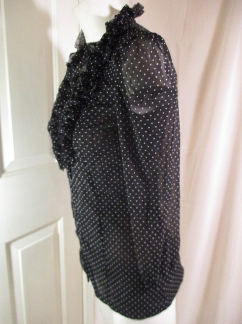 INC International Concepts Ruffled Polka Dot Button Down Onm 001 Top black & white Image 4