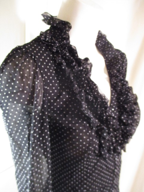 INC International Concepts Ruffled Polka Dot Button Down Onm 001 Top black & white Image 7